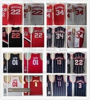 1993-94 Retro Mann Hakeem Olajuwon 34 Clyde Drexler 22 Basketball-Trikots 2004-05 Tracy 1 McGrady Cactus 01 Jack Hemden 02-03 Yao Ming 11 Mesh Navy Stripe Rot Weiß