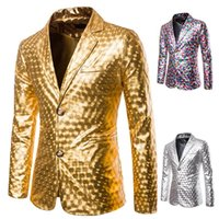 Men's Suits & Blazers Shiny Gold Dress Coat Costumes Slim Fit Nightclub Men Casual Stage Host Singer Show Jackets Suit Ropa Hombre