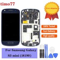 Orijinal Dokunmatik Paneller Samsung Galaxy S3 SIII Mini I8190 LCD Sayısallaştırıcı Ekran Ekran Tam Meclis Değiştirme Çerçeve Ücretsiz Cam Temperli