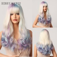 Косплей вечеринка длинные красочные синтетические парики Ombre фиолетовый синий белый белокурый волновой парик для женщин теплостойкий