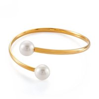 Newest two Pearls opening cuff bangle bracelet with Stainless 18k gold fashion women birthday jewelry bangles