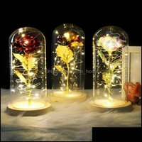 Event Festive Party Supplies Home & Gardenparty Decoration Galaxy Rose In Flask Led Flashing Flowers Glass Dome Gifts For Girls Wedding Deco