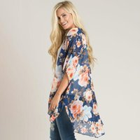 Summer Kimono Cardigan Boho Floral Print Beach Bikini Cover Up S-3XL Plus Size Chiffon Loose Casual Blouse And Shirts Women's Blouses &