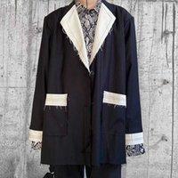 Erkek Ceketler Harajuku Blok Renk Patlama İhale Cepler Erkek Ve Kadın V Büyük Boy Streetwear Hip Hop Ceket Q2OE YYIU