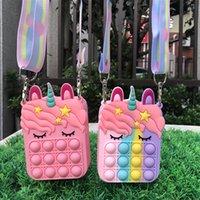 New unicorn silicone push bubble stationery storage bag decompression coin purse toy Messenger Bag Popo It Fidget Toy 6 colors