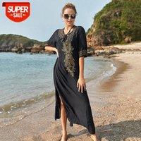 European and American cotton black embroidered loose large size beach skirt robe seaside vacation bikini blouse women sun protection c #zG1k