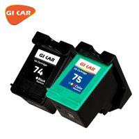 GIKAR 74 XL 75 74XL 75L 75XL Jette à jet d'encre reconstructible Tri-Color Noir pour Officejet J5725 J5730 J5740 J5740 Cartouches d'encre