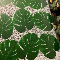 큰 열대 야자수 잎 큰 몬 테라 잎 인공 식물 결혼식 / 파티 테이블 장식 하와이 루아우 용품 정원 장식 fl