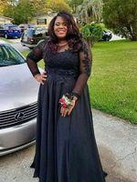 Mãe elegante da noiva Vestidos Africano Marinho Azul Sheer Decote Long Sleeves 2021 vestido de festa de casamento mais tamanho Vestido Madrinha