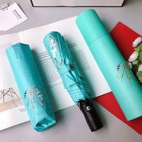 Black And White Folding Umbrella Simple Style Letter Big Floral camellia Round Handle Umbrellas CC