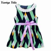 Vestidos de niña Kseniya Kids Baby Girl Ropa Cintas de cordón de algodón Cintas de verano Imprimir Fiesta de boda 1 año Vestido de cumpleaños