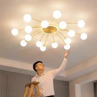أضواء السقف الكرة الزجاجية الذهبي الذهبي للمعيشة غرفة الطعام غرفة نوم داخلي الشمال النحاس شنقا الإضاءة تركيبات