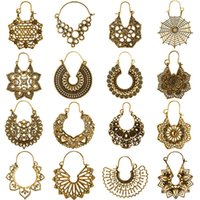 Dangle Earrings Huatang Vintage Gold Silver Color Metal Hollow for Women Geometric Carved Ethnic Earring Indian Jewellery Brinco