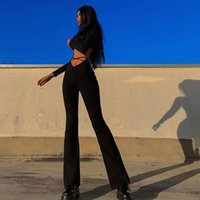 Women's Pants & Capris JIAK High Street Lady Leisure Fashion Trousers Waist Hollow Out Bandage Slim Solid Color Flared Female Activity