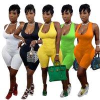 Плюс размер 2xL женщины сексуальные комбинезоны тощий без рукавов Rompers шорты совок шеи летняя одежда боди тонкий комбинезон один кусок capris dhl 4868