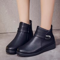 Boots Demi-season For Women 2021 Autumn And Winter Platform Rubber Leather Ankle Tabi Fashion Wedge Heel Black Warm Shoes