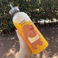 1000ml botella de plástico dibujos animados botellas de agua heladas a prueba de fugas utensilios panda polar oso marrón taza de oso patrón transparente