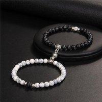 Beaded, Strands 2pcs set Couple Bracelets 6MM Natural Stone Lava Magnetic Buckle Distance Yoga Bangles For Women Men Lovers Attractive Jewel