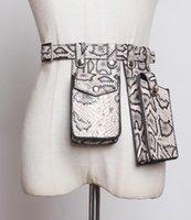 Belts Two Pocket Women Leather Waist Bag Female Phone Design Fanny Packs Ladies Black Snakeskin PU Shoulder Belt