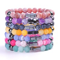 Charm Gifts Cross Weathered Stone Men Yoga Bracelet Colors Stone Beads Rosary Bracelets Bangles for Women Jewelry