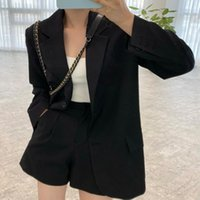 Women's Suits & Blazers Office Lady Blazer Casual Solid Color Jacket Long Sleeve Straight Retro Chic Coat Spring Autumn 2021