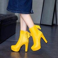 Большой размер 11 12 13 14 15 16 17 18 18 19 Дамы Круглая головка Толстые высокие каблуки мода повседневная теплый боковой на молнии задняя шнуровка ботинки сапоги для девочек меховой ботинок 70mo #