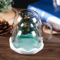 newCute Christmas Tree Mug Double Wall Glass Coffee Cups with Silocone Lid Snowflake Star Xmas Gift Wine Tea Milk Water Tumbler 833 B3