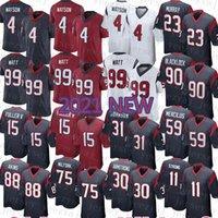 2021 NUEVO HOUSTONS MENS Texan American Football Jersey 99 J.J. Watt 4 Deshaun Watson 23 Arian Foster 90 Jadeveon Clowney 2 Mark Ingram II 94 Charles Omenihu 88 Akins