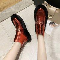 Зимние меховые сапоги блестящие лодыжки сапоги женские пушистые мех короткие дамы мода металлическая пряжка украшения зимние женские туфли I4II #