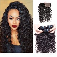 Brazilian Virgin Hair Water Wave With Closure 3 Bundles Brazilian Wavy Hair With Closure Unprocessed Cheap Wet And Wavy Human Hair Weave