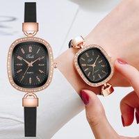 Top Brand Women Bracelet Watches Ladies Thin Leather Strap Rhinestone Ladies Wrist Watch Arabic Numerals Dial Quartz Clock Gifts