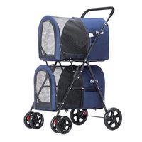 Coussins de siège auto Dog Double couche Petite poussette pour animaux de compagnie léger Cat Cracherie Crachette Coupe de tricycle Récoltif