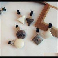 Barrettes 한국어 나무 간단한 기하학적 삼각형 bangs duckbill 클립 클립 barrette 헤어 밴드 헤어 액세서리 al9yh rtgel