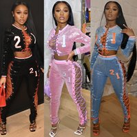 Women Sexy Two piece set Sequins tracksuits Lace Up Sweatshirt Leggings Jogger suits S-2XL outfits long sleeve hoodies Pencil Pants sweatsuits Night Club wears 218