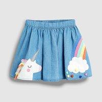 Liten Maven 2-7 år Girl's Summer Kjolar Unicorn Rainbow Girls Barnens Denim Baby Kids Toddler Pläterad Tutu Rok