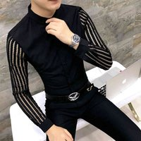 Men's Casual Shirts Camisa masculina retalho com renda branca e preta, jogo de camisa manga comprida para festa luxo, petticoat masculino, smoking, novo, P2U1