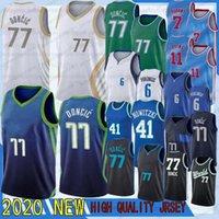 Erkekler Jersey 7 Durant 77 Doncic Kevin Kyrie Luka 11 Irving Kristaps 6 Porzingis 2020 NCAA Basketbol Forması 41 Nowitzki Doncic Irving Porzingis Dur