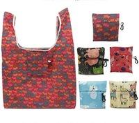 Foldable Shopping Bags Friendly Storage Handbag Organizer Beautiful Reusable Fruit Vegetable Bag Large Capacity Polyester Portable GYLA52