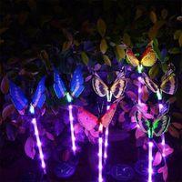 Solar Lamps 3Pcs Butterflies Colorful Fiber Optic Butterfly Lamp Light Garden Plug Outdoor Ground Night Decoration A3F3
