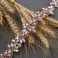 Abito da sposa in oro rosa cinghie strass shashes cintura da sposa aderenza diamante cinture da sposa applique per accessori per abiti da sposa