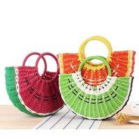 Meyve Tasarım Çanta Renkli Yarı Dairesel Plaj Saman Dokuma Çanta Örgü Çantası Loveliness Karpuz Kız Çanta Sebze DWC7522
