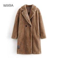 Wixra Womens Coat Ladies Faux Mink Fur Outwear Long Jacket Loose Street Style Warm Overcoat Autumn Winter 210902
