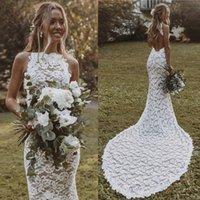 Sexy Backless Boho Wedding Dress For Women 2021 robe de mariée Mermaid Lace Summer Bohemian Bridal Dresses