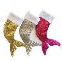 Pullu Mermaid Kuyruk Noel Çorap Hediye Wrap Çocuklar Şeker Çanta Noel Ağacı Süs Ev Parti Süslemeleri Büyük Boy HHF8796