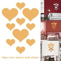 Wall Stickers 10 PCS Heart Shaped DIY Patterns TV Background Decor Mirror Acrylic 3D Home Decal Living Room Murals KI