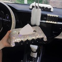 Car Seat Covers Bling Rhinestones Interior Decoration Crystal Tissue Box Air Vent Perfume Clip Phone Holder Pendant Accessories