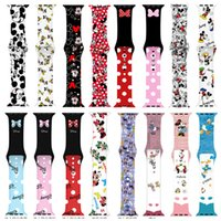 Designer Cartoon Mouse Silicone Strap for Apple Watch Band 44mm 40mm 38mm 42mm Printing Sports Wrist Bracelet Iwatch Series 3 4 5 SE 6