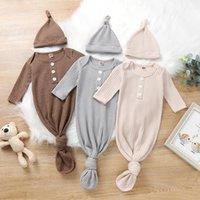 Waffle solid color Infant Sleeping Bag Newborn Baby Swaddle Blanket hat 2 pcs Wrap Toddler Cotton Cartoon Sacks Photography Prop M3833