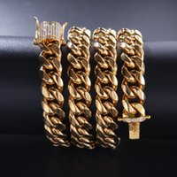 12mm Crystal Zircon Stainless Steel Cuban Chain Gold Diamond Link Bracelet Necklaces For Men Nightclub Hip Hop Fashion Jewelry Will And Sand