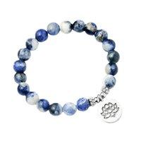 الأزرق الطبيعي حجر اليشم سوار حلقة واحدة سوار اللوتس بوذا مجوهرات مجوهرات